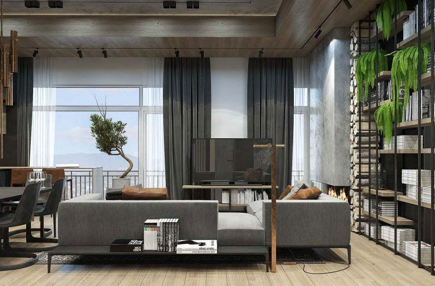 Tonos grises y madera, coordinados con techos de hormigón.