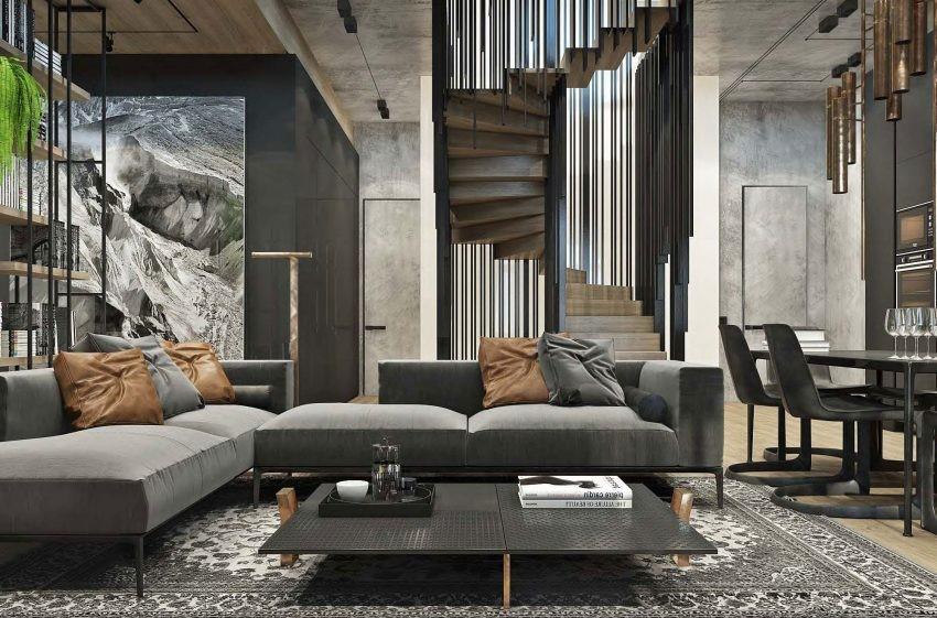 Un pieza arquitectónica se convierte en el centro de atención de este salón.