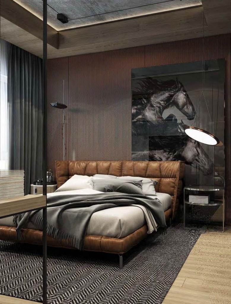 Aires masculinos, en la decoración de este sofisticado dormitorio.