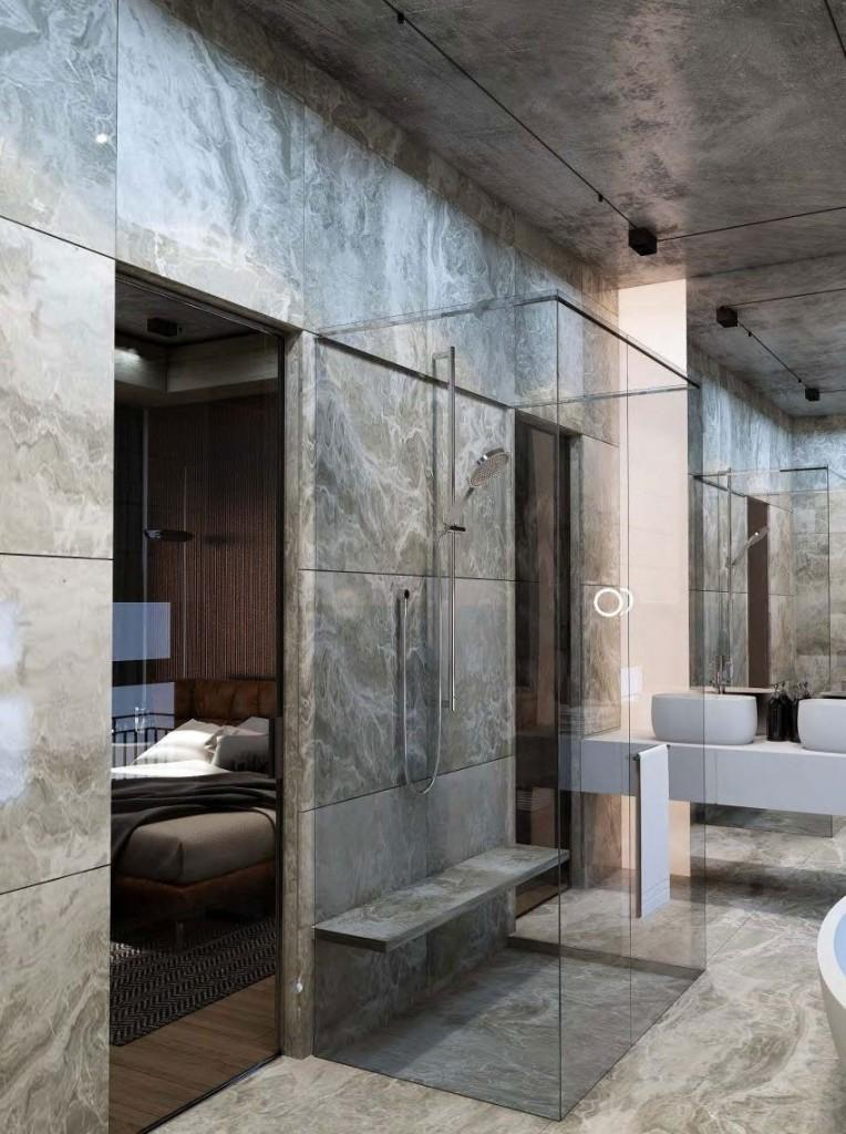 Minimalismo y acertada mezcla de materiales, en este moderno cuarto de baño.