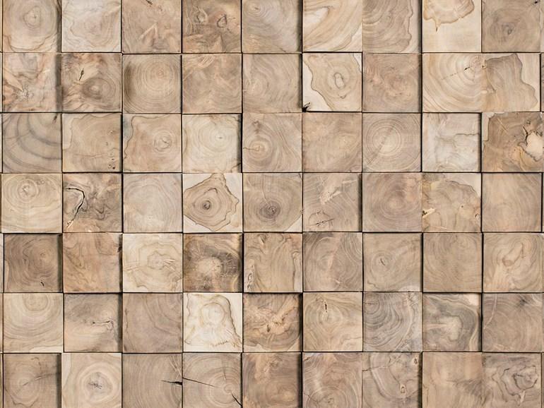 Tacos de madera de teca para cubrir paredes.