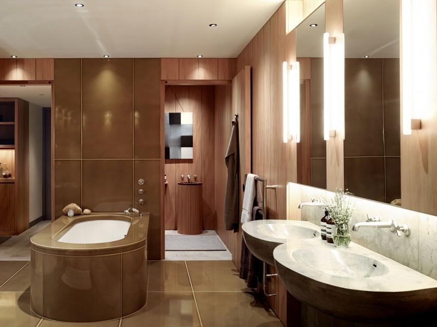 Tonos cálidos, en los materiales elegidos para el diseño del cuarto de baño.