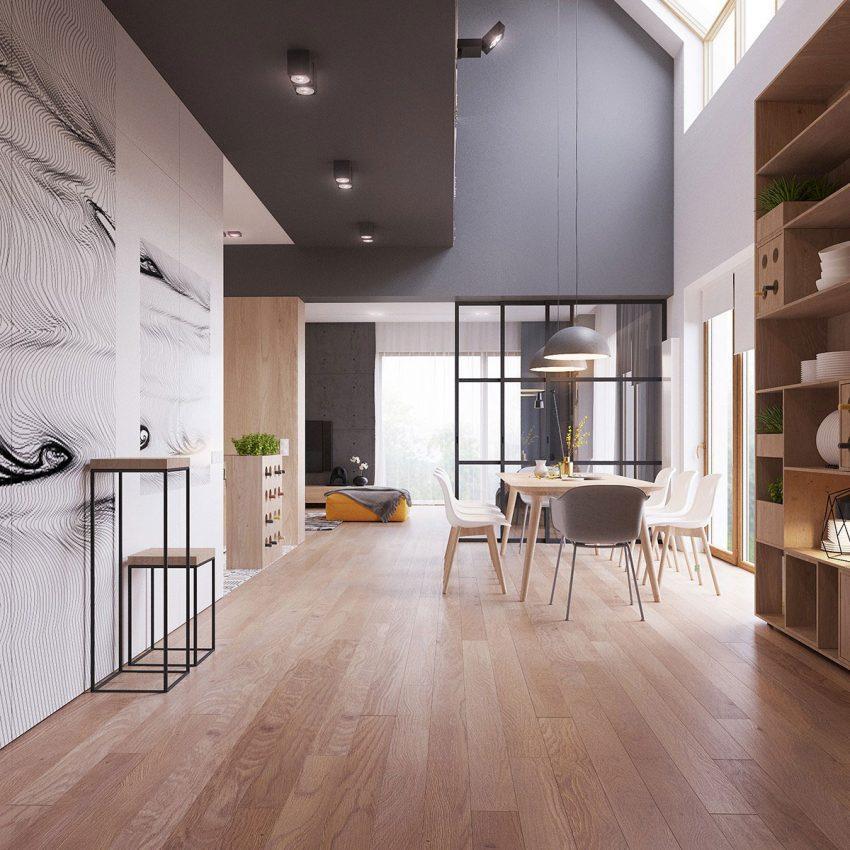 Como en el resto de la casa, blanco, gris y madera, son los tonos predominantes.