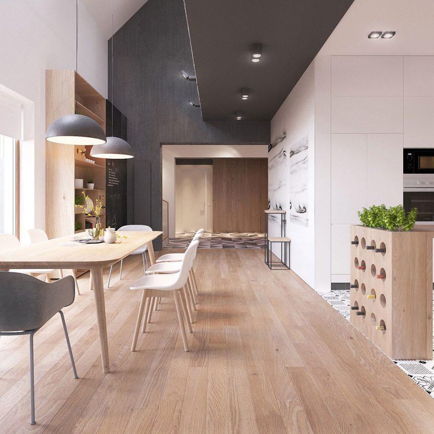 Un original mueble botellero hace de pequeño separador de ambientes.