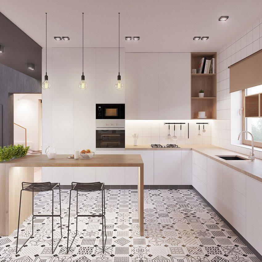 Losetas hidráulicas, con sus característicos patrones cubren el suelo de la cocina.