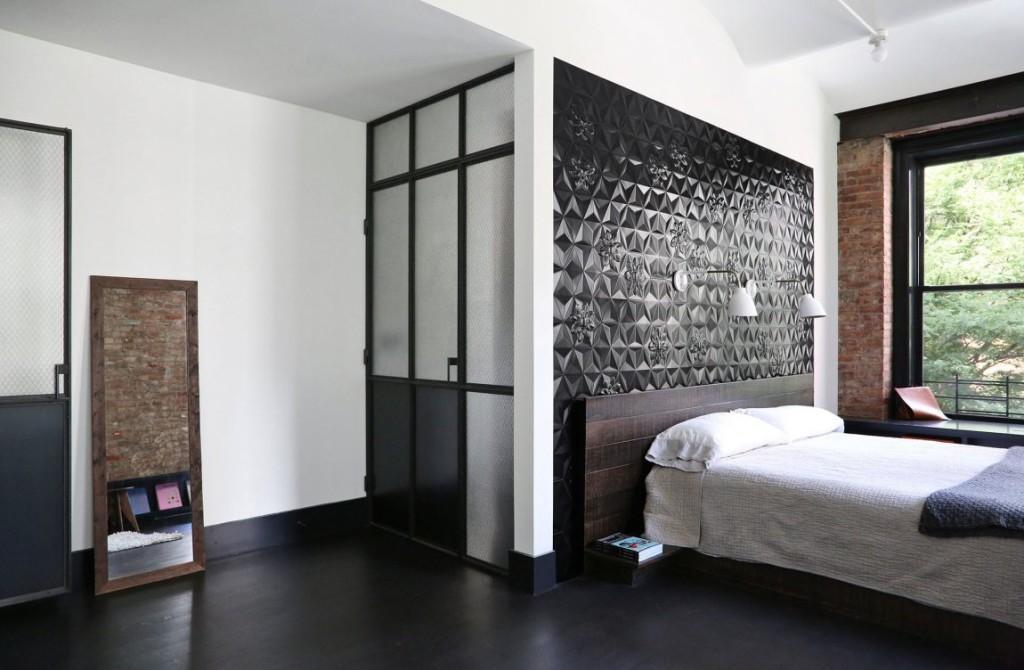 Mezcla de distintos materiales decoran este dormitorio.