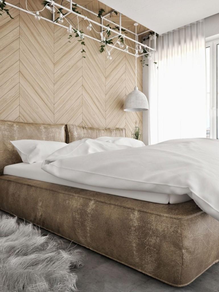 Tonos beiges, blancos y grises en el dormitorio principal.