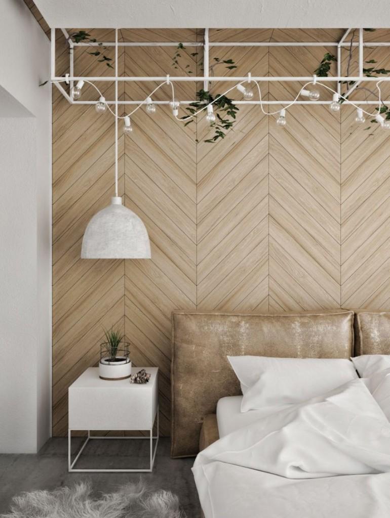 Una estudiada puesta en escena, con diferentes materiales domina el dormitorio.