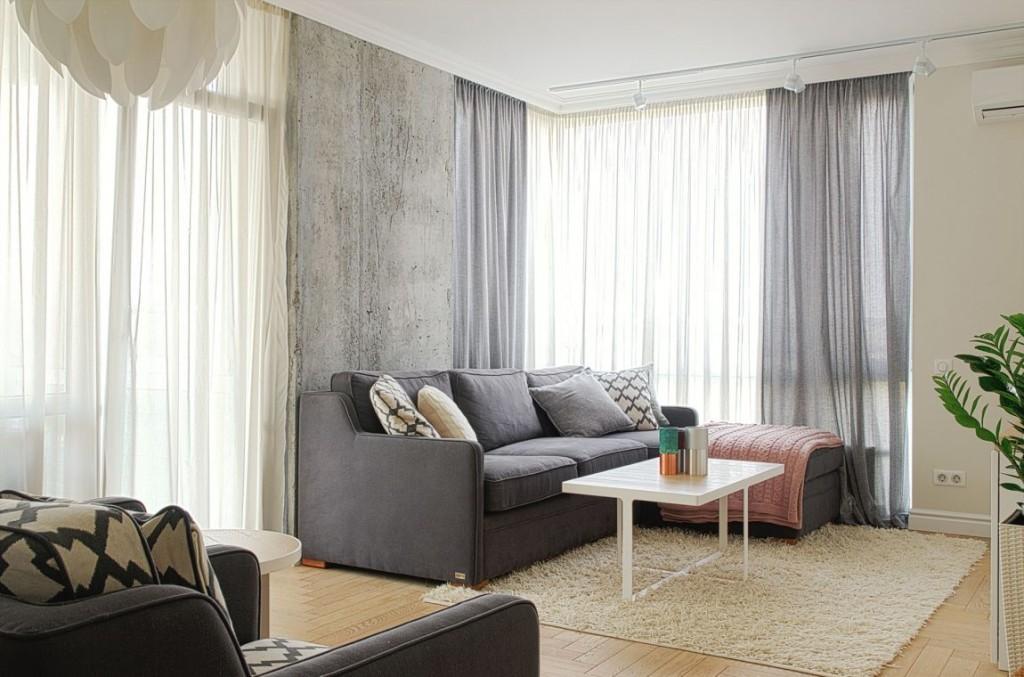 Beige, grises y blancos , para este acogedor apartamento.