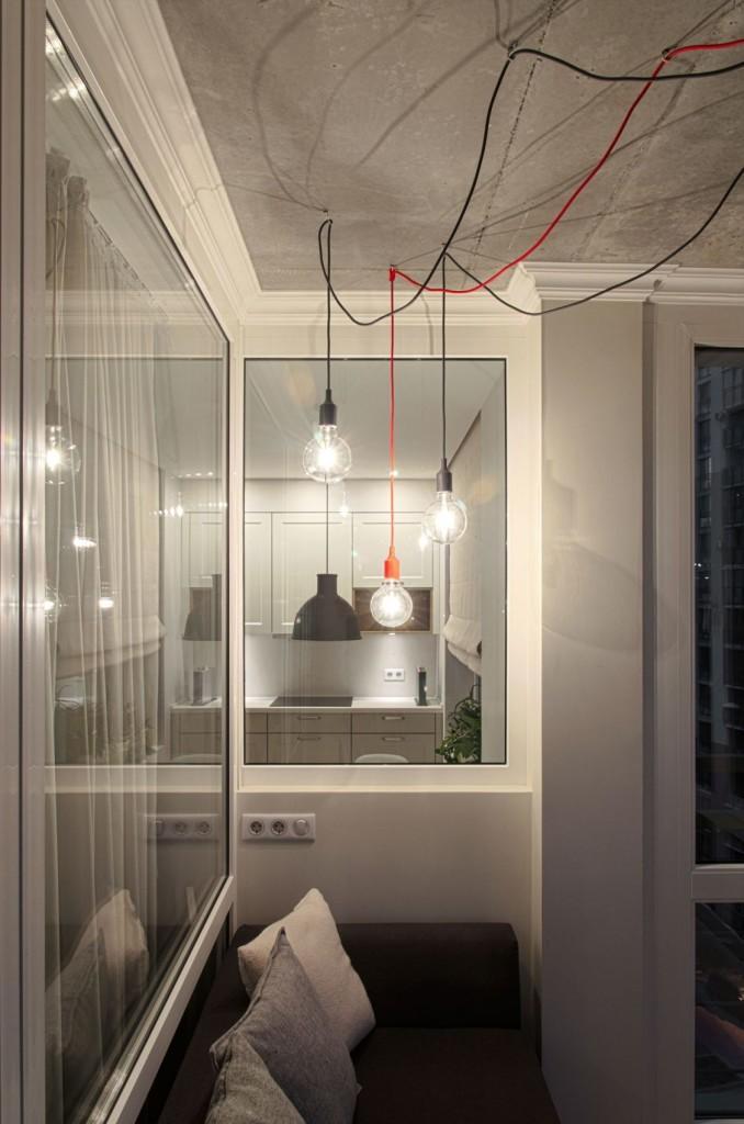 Un office con aire industrial con techo de hormigón.