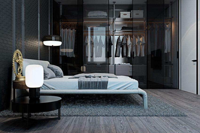 Un diseño moderno en este armario con puertas acristaladas.