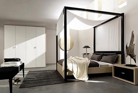 Un diseño contemporáneo de cama con dosel.