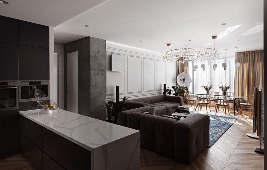 Una imagen panorámica del interior de este salón.