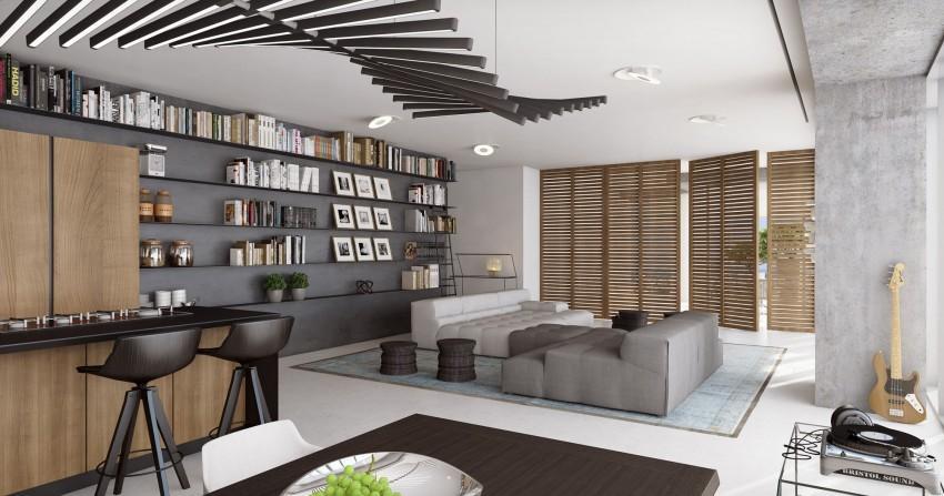 la madera y los tonos blanco negro y gris, como base decorativa en esta vivienda.