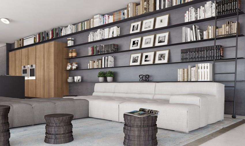 La zona de estar de este apartamento, cuenta con modernos sofás en blanco y gris y unas estanterías metálicas.