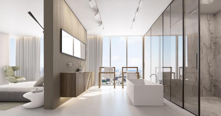 Un completo cuarto de baño, tras la pared divisoria.