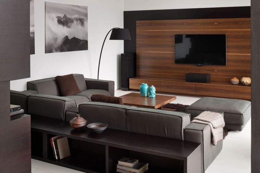 Las líneas rectas del mobiliario de estilo minimalista, domina la zona de estar.