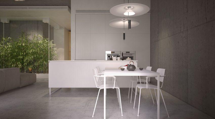 También en color blanco se muestra la sencilla cocina.