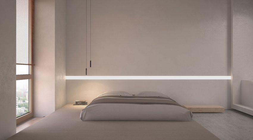 Al más puro estilo japonés, una tarima enmoquetada alberga la sencilla cama.