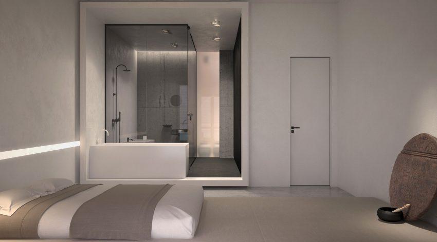 Vista frontal del cuarto de baño en suite de este dormitorio.