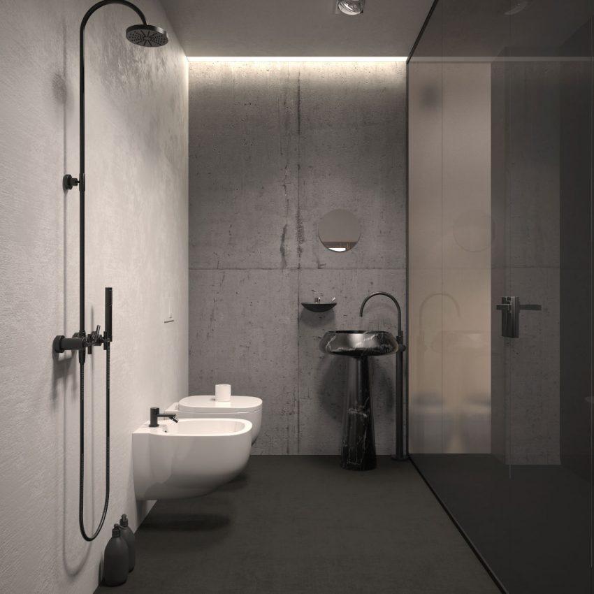 Como en el resto de la vivienda, el cuarto de baño es de marcado estilo minimalista.