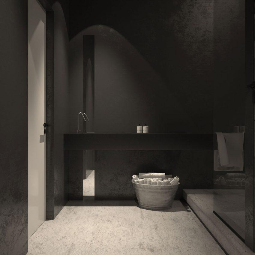 Sobriedad y elegancia en este otro cuarto de baño.