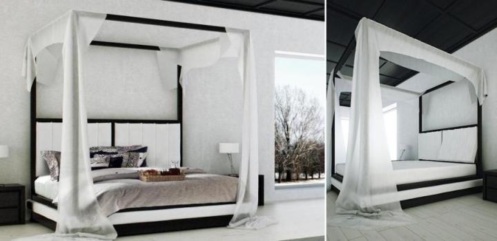 Blanco y negro para este diseño de cama con dosel de la firma Mazzali.