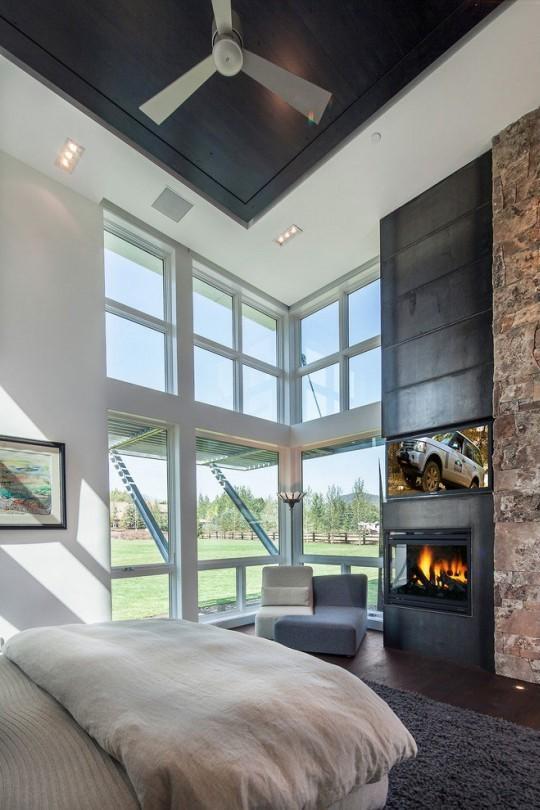 Mobiliario moderno y diseño con toques industriales, en el dormitorio.