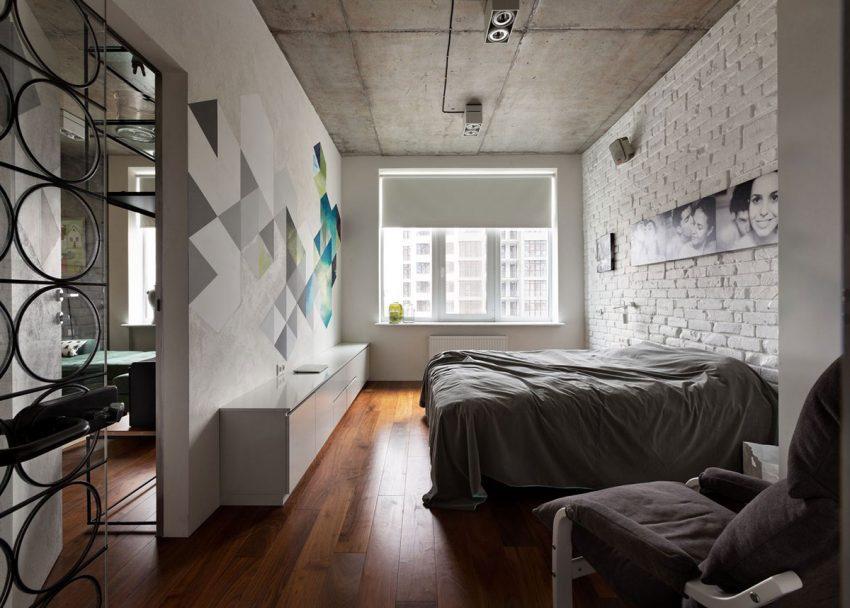 Imagen del dormitorio principal, donde los tonos grises y los blancos se combinan a la perfección.