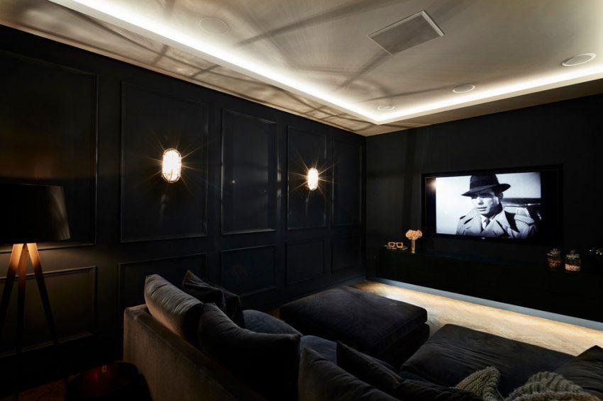 Un sofisticada y elegante sala de cine.