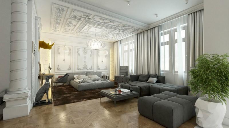 Los fuertes contrastes, son una máxima en la decoración de este apartamento.