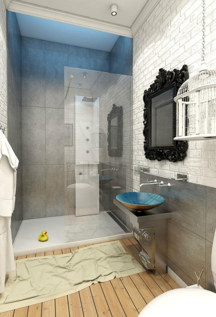 Mezcla de materiales en el interior del cuarto de baño.